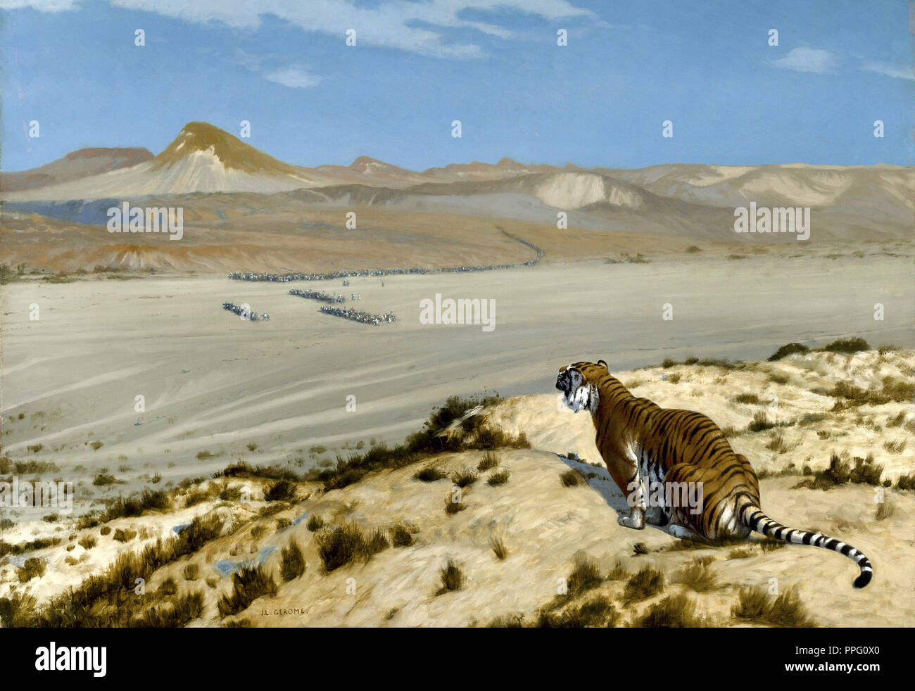 Jean-Leon Gerome, Tiger on the Watch. Circa 1888. Oil on canvas. Museum of Fine Arts, Houston, Texas, USA. - Stock Image