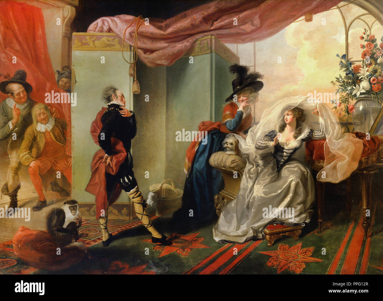 "Johann Heinrich Ramberg - Olivia, Maria and Malvolio from ""Twelfth Night,"" Act III, Scene iv. 1789 Oil on canvas. Yale Center for British Art, New Hav Stock Photo"