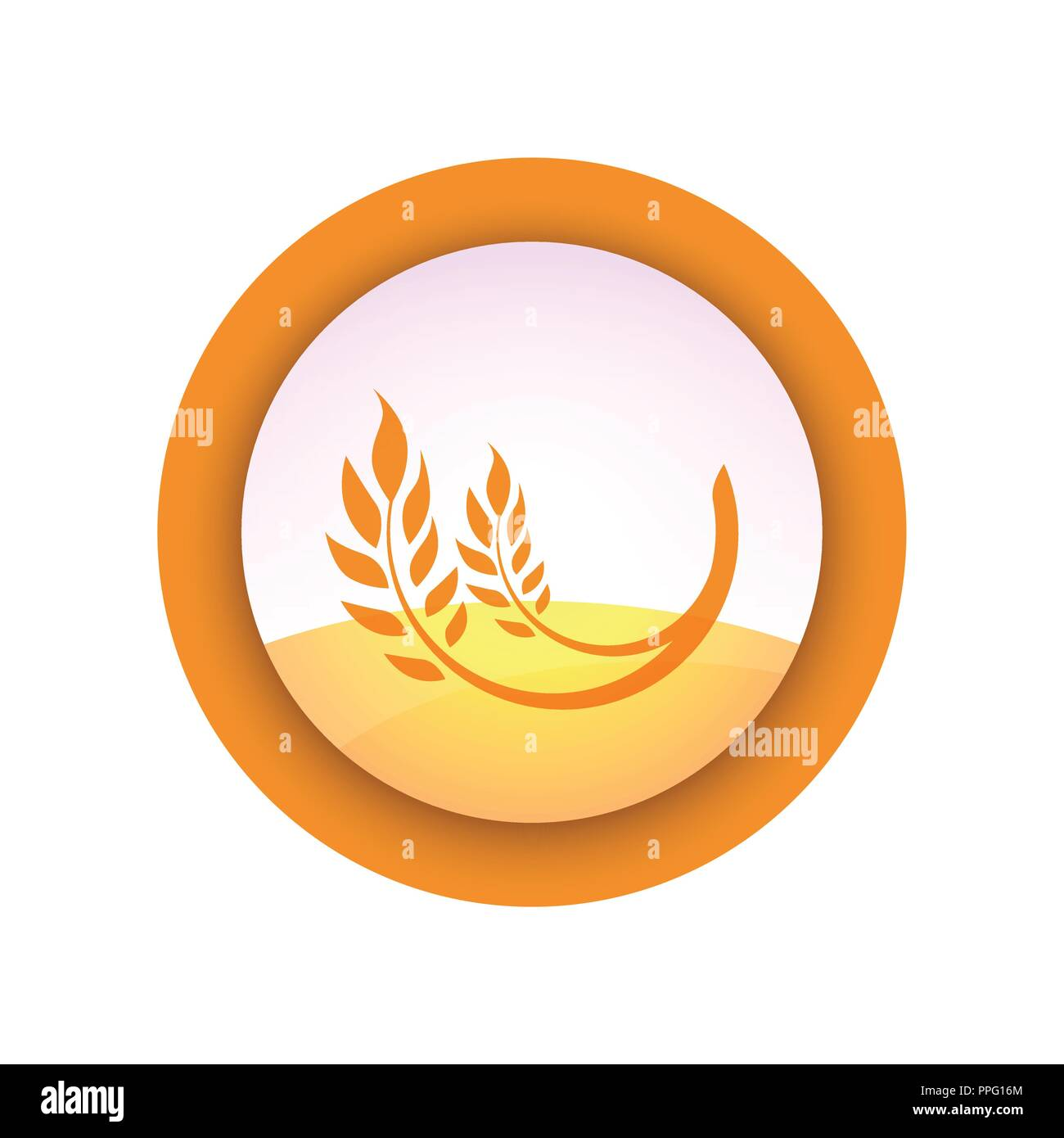 Farm Emblem with Ear of Wheat on Field Background - Vector Logo isolated on white. - Stock Vector