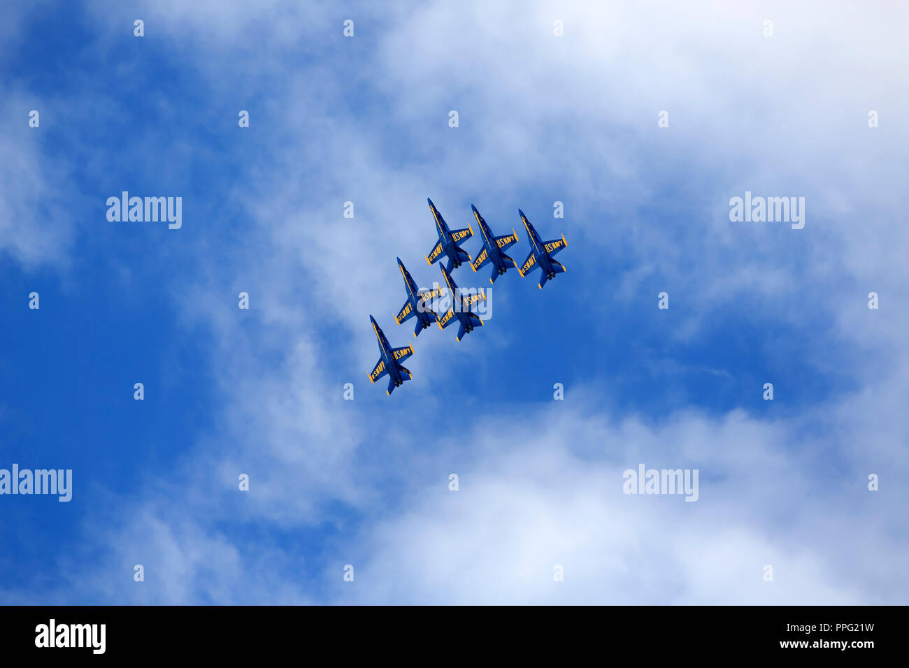 Blue Angels in delta formation at the Cleveland Air Show 2018 - Stock Image