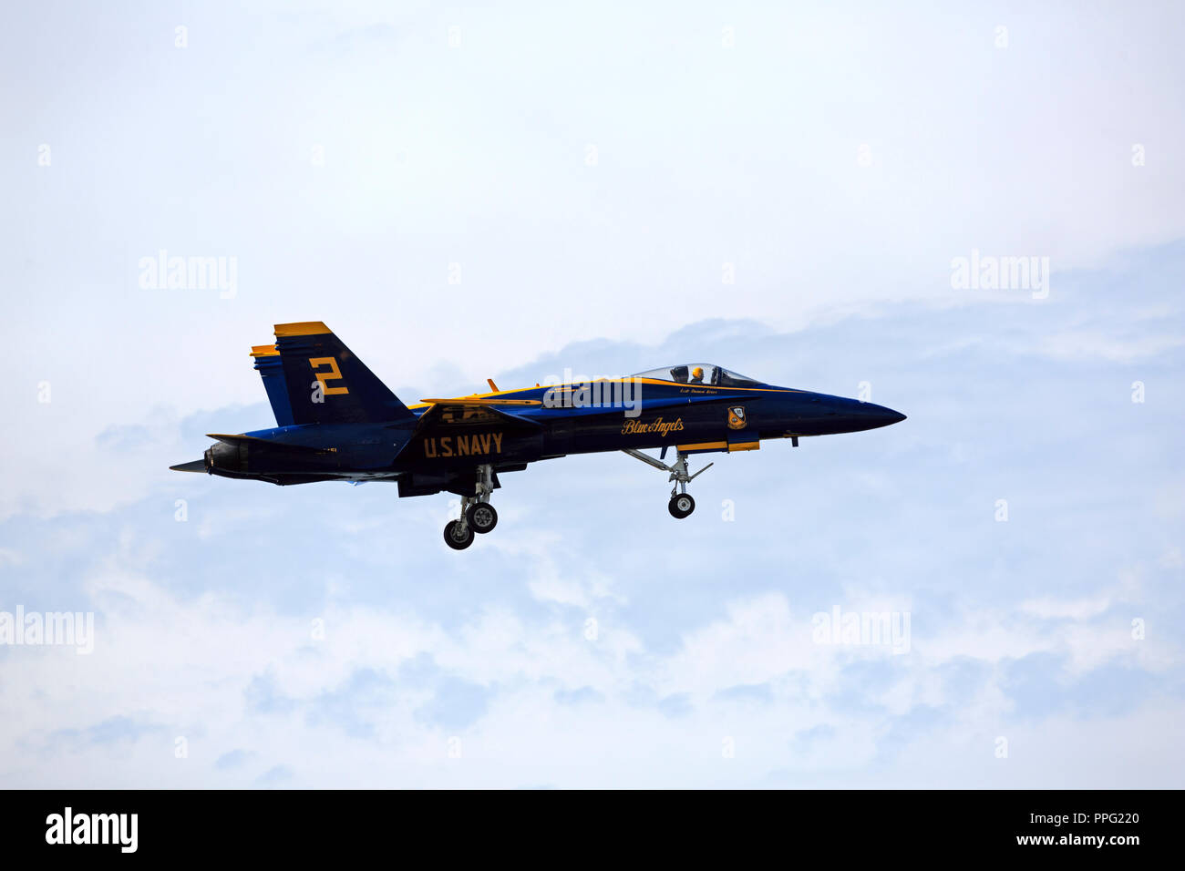 Blue Angel 2 prepares to land at the Cleveland Air Show in 2018 - Stock Image