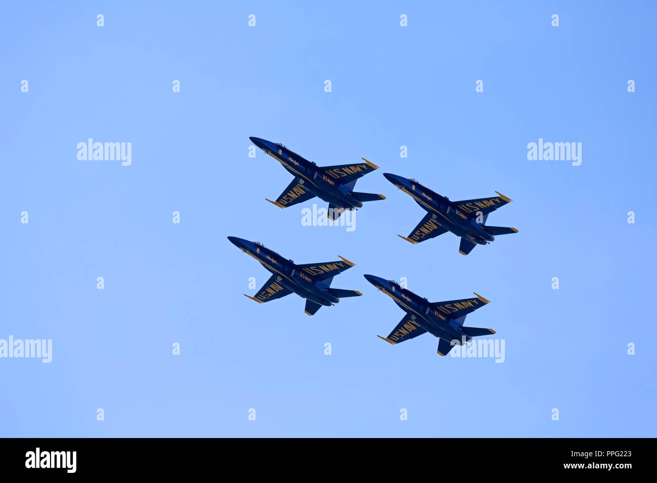 Blue Angels flying in diamond formation at the Cleveland Air Show 2018 - Stock Image