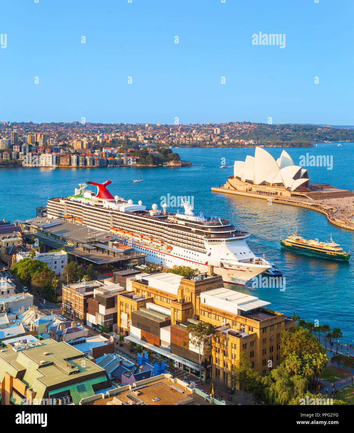 Carnival Spirit cruise ship docked at the Overseas Passenger Terminal in Sydney, New South Wales, Australia - Stock Image