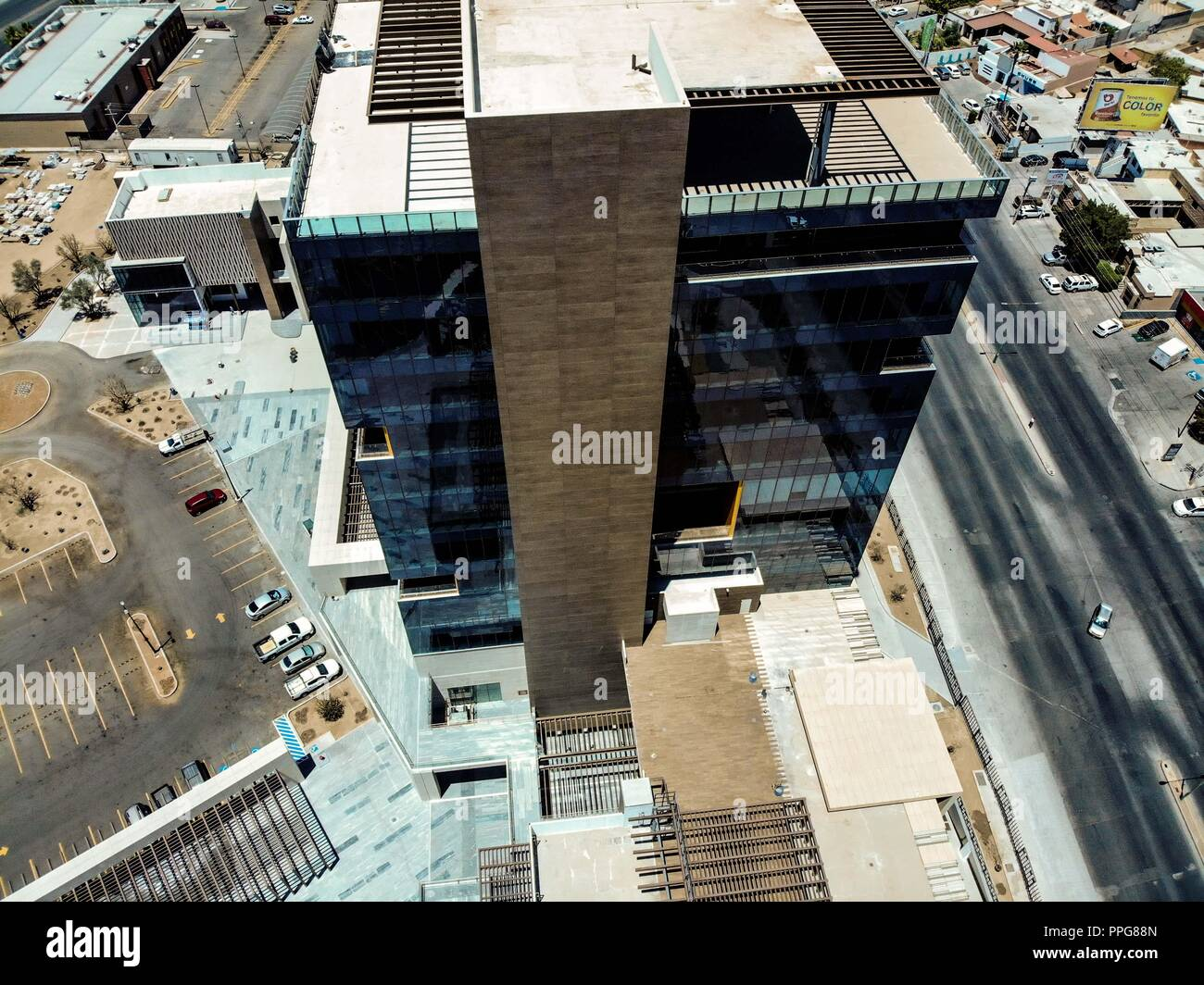 Metrocentro Tower in Hermosillo, Sonora. commercial center and business building. Architecture. Increase. Modernity. Real state development... - Stock Image