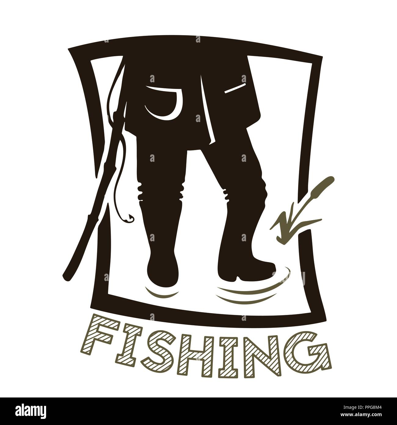 The legs of the angler. Black and white silhouette. Fishing vector illustration. - Stock Image