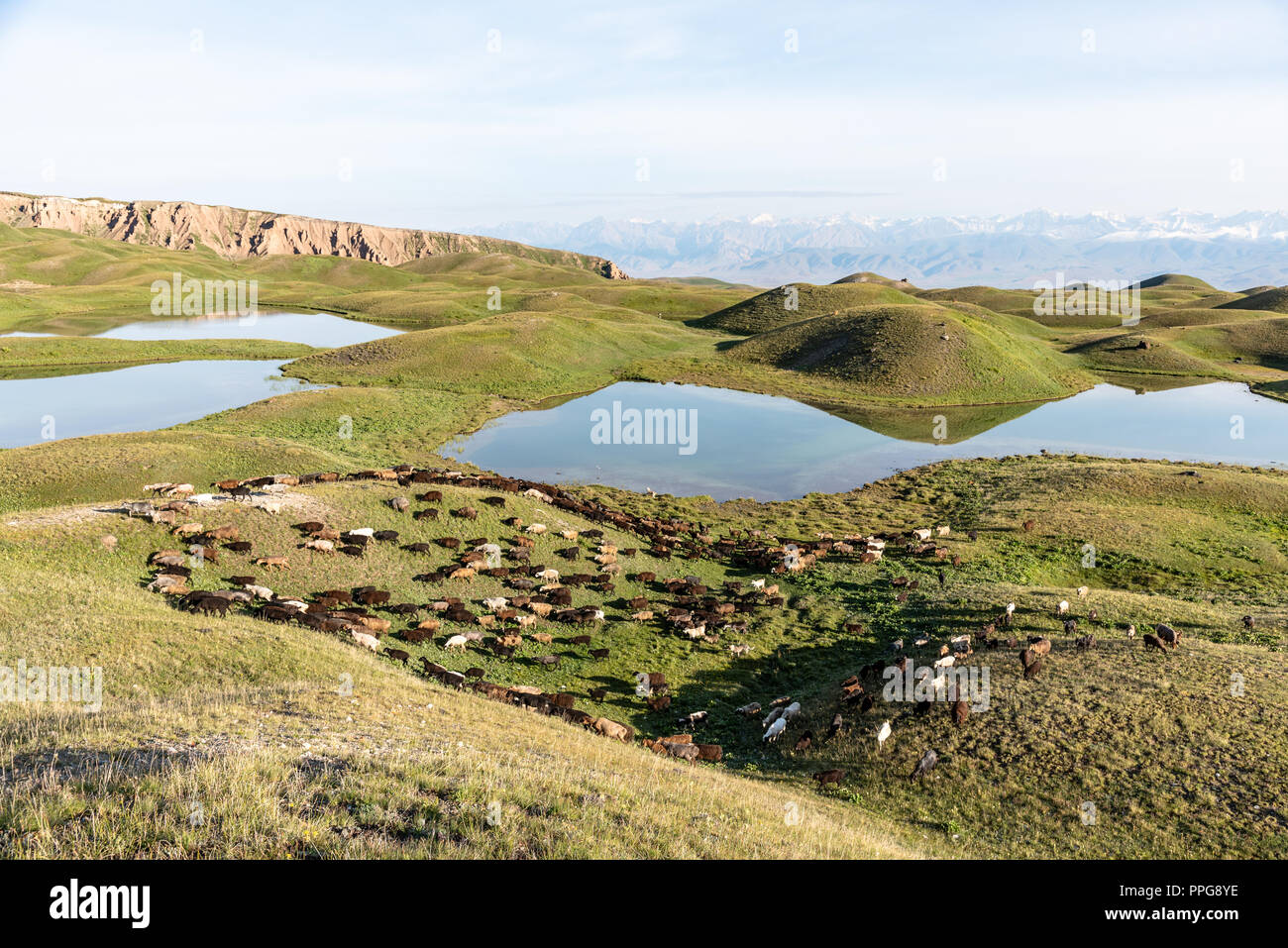 Peak Lenin valley with its characteristic mountain lakes,  Kyrgyzstan Stock Photo
