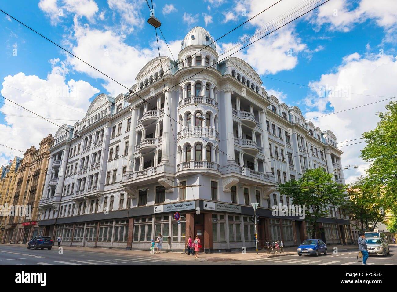 Riga Corner House, view of the former headquarters of the KGB Soviet secret police (Brivibas Iela 69) in the center of Riga, Latvia. - Stock Image