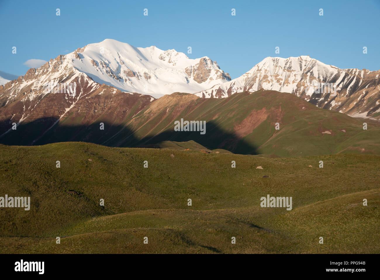sunrise over Peak Lenin valley, Kyrgyzstan Stock Photo