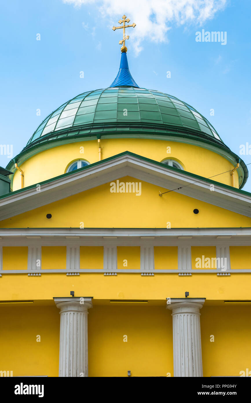 Detail of the pediment and dome of the St Alexander Nevsky Russian Orthodox Church sited at 56 Brivibas Street Riga, Latvia. - Stock Image