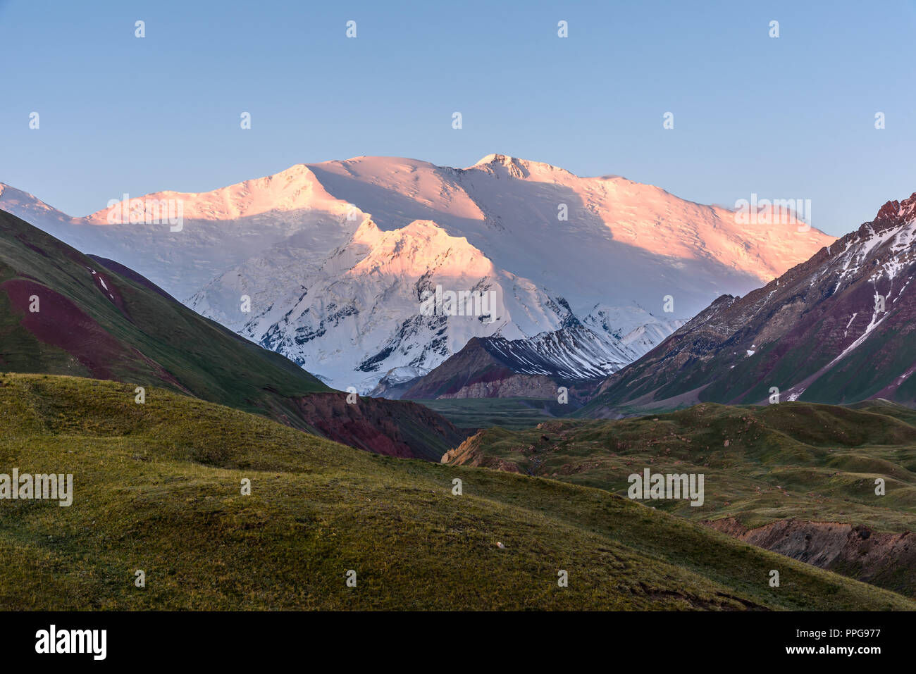sunrise over Peak Lenin, Kyrgyzstan Stock Photo