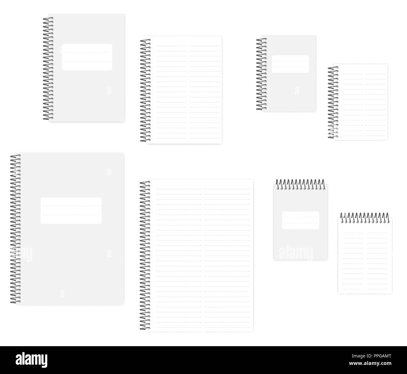 Two column dashed line notebook with tear off sheets, realistic vector mockup set. A4, A5, A6 size. Wire bound notepads, mock up - Stock Image