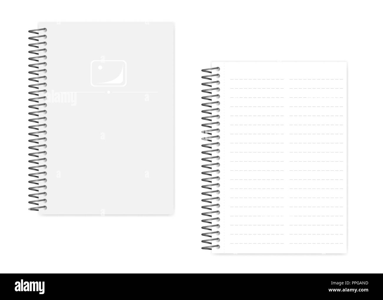 Two column dashed line spiral notebook with side perforation sheets, realistic vector mockup. Wire bound A5 size notepad, mock up. Loose leaf note pad - Stock Image