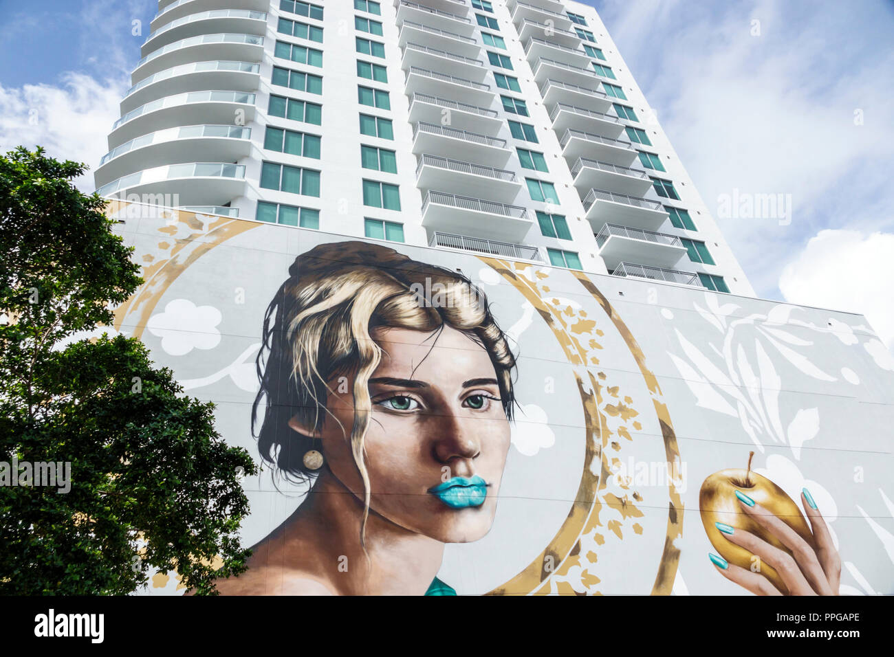 West Palm Beach Florida giant murals The Alexander art artwork high rise condominium building - Stock Image