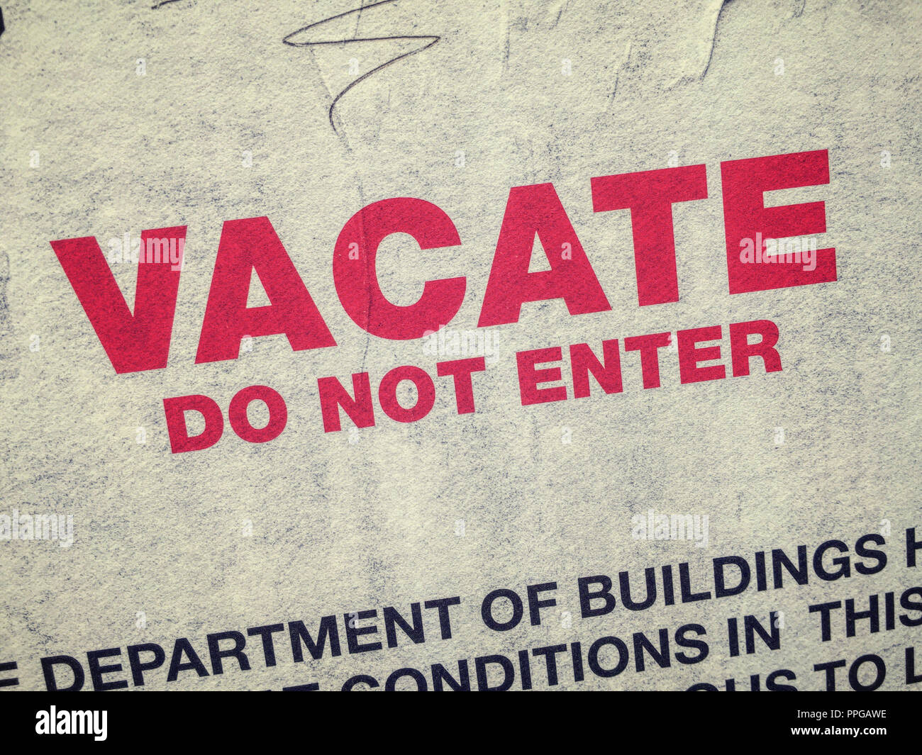 'Vacate Do Not Enter' Sign, USA - Stock Image