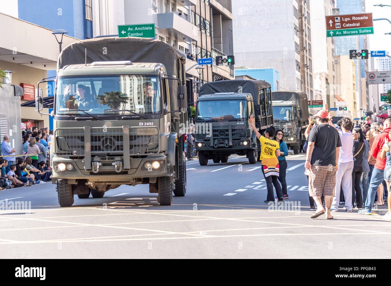 Campinas/ SP/ Brazil - September 7, 2018: Army's car in the Brazilian independence day parade celebration - Stock Image