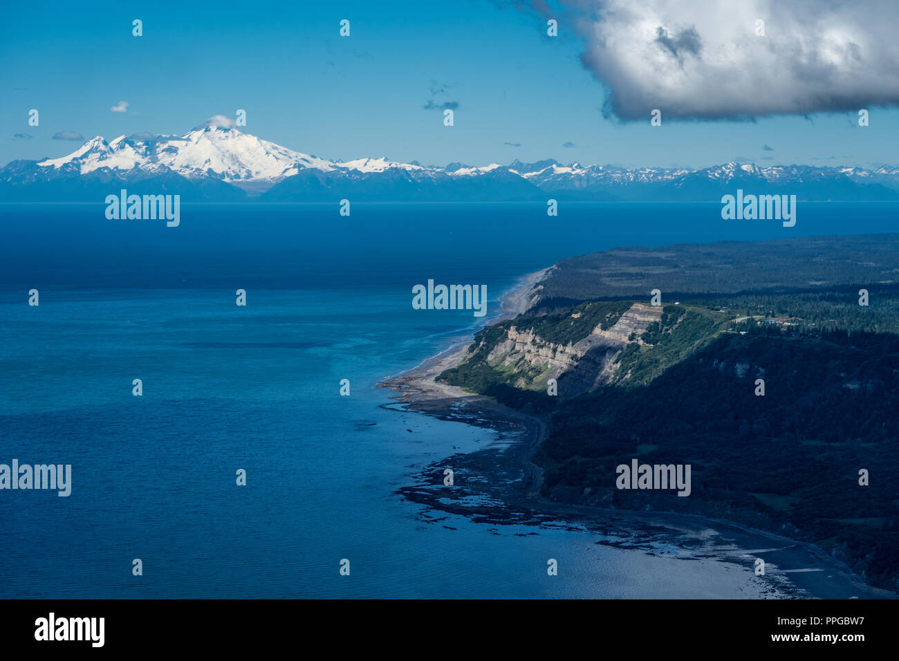 Aerial photography view of Alaska's Cook Inlet with a clear view of Mount Redoubt in Homer Alaska - Stock Image