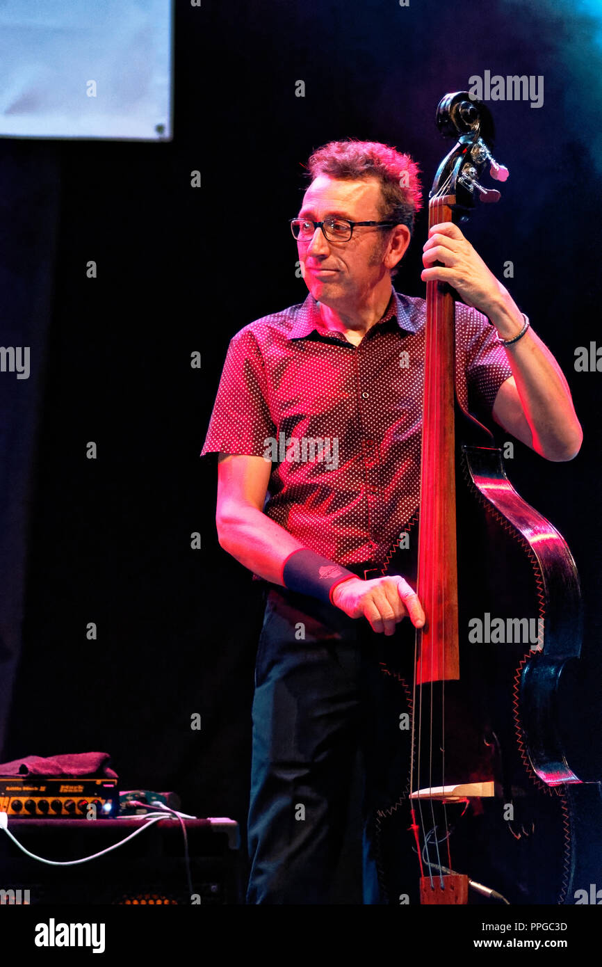 Moratalaz, Madrid, Spain - september 21-22, 2018: Lluis Coloma trio at the 1st International Blues Festival in Moratalaz, Madrid, Spain - Stock Image