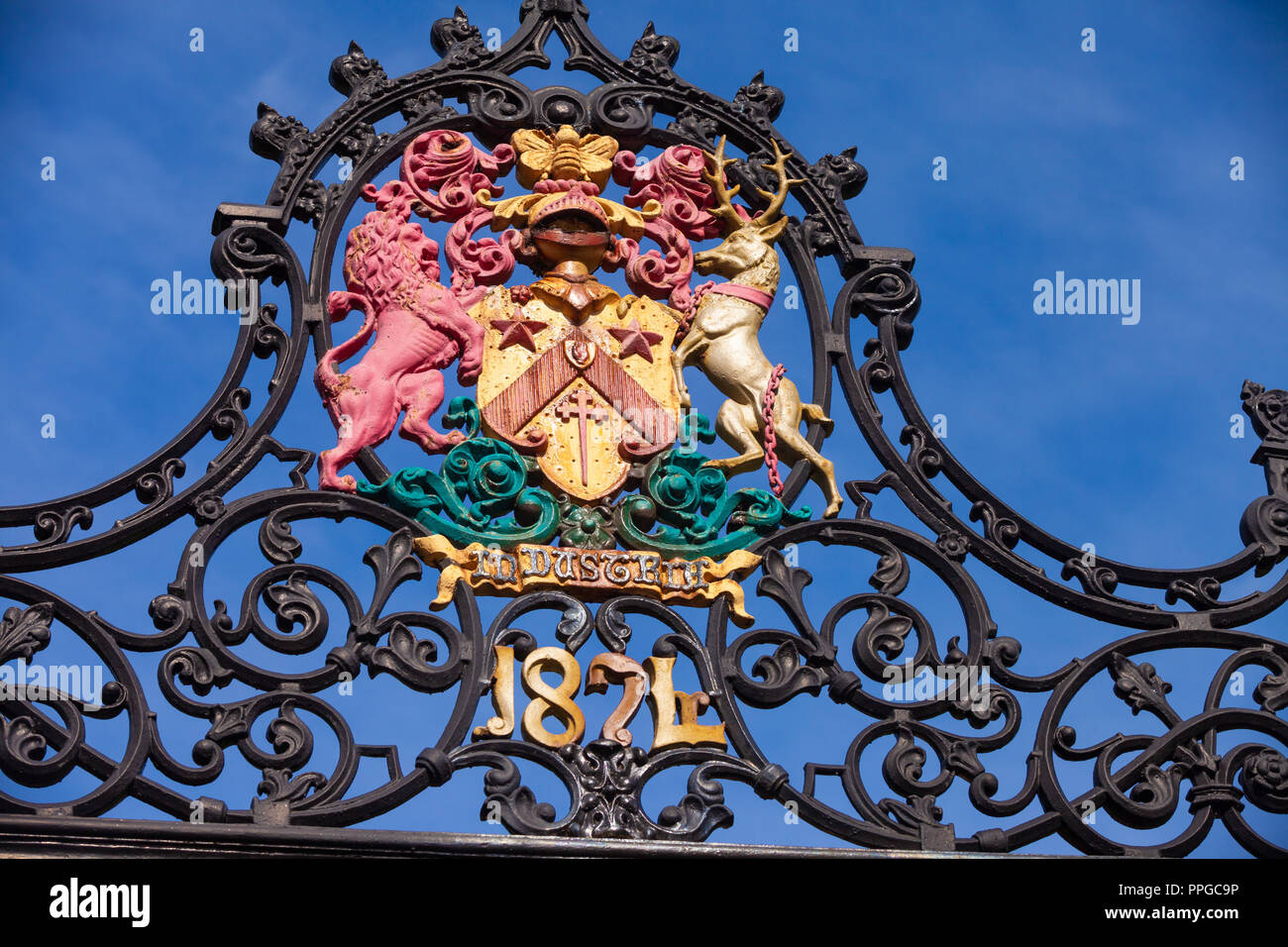 Close up of the Fettes college Coat of arms on the school