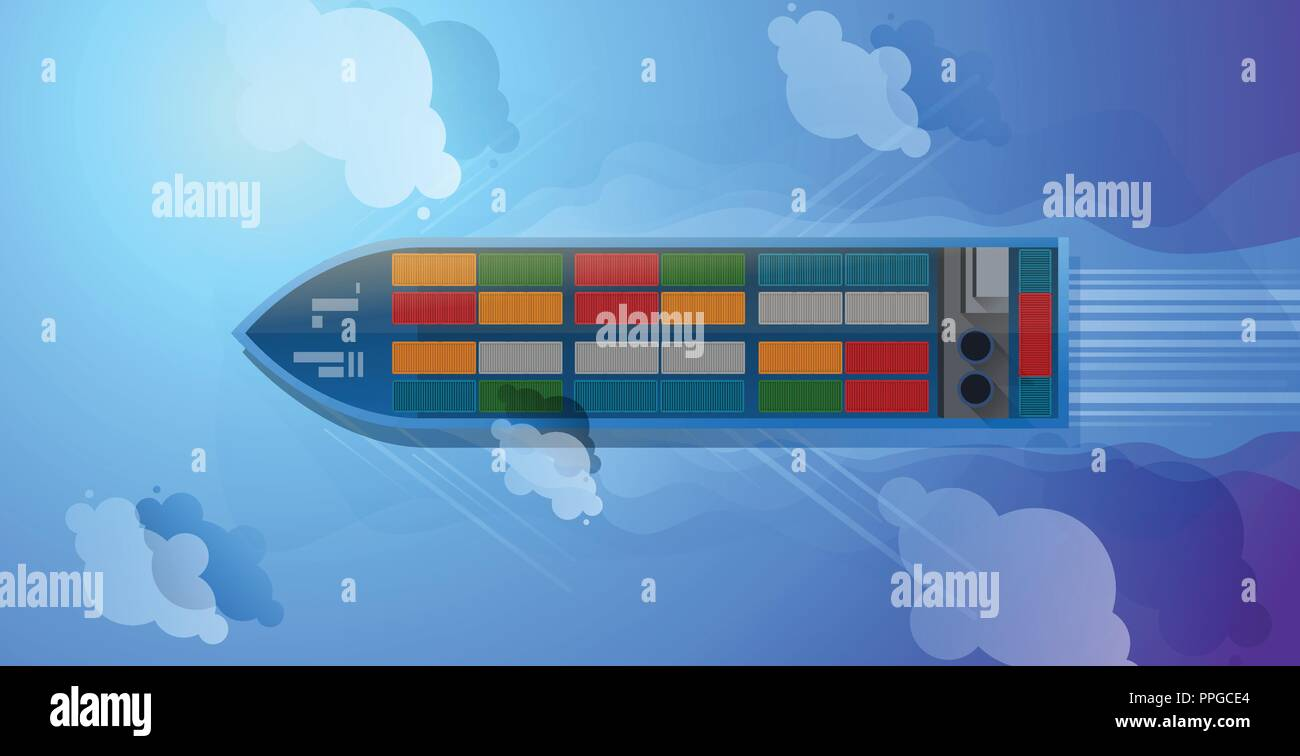 Container ship. Aerial top view. Cargo to harbor. Vector illustration flat design - Stock Vector