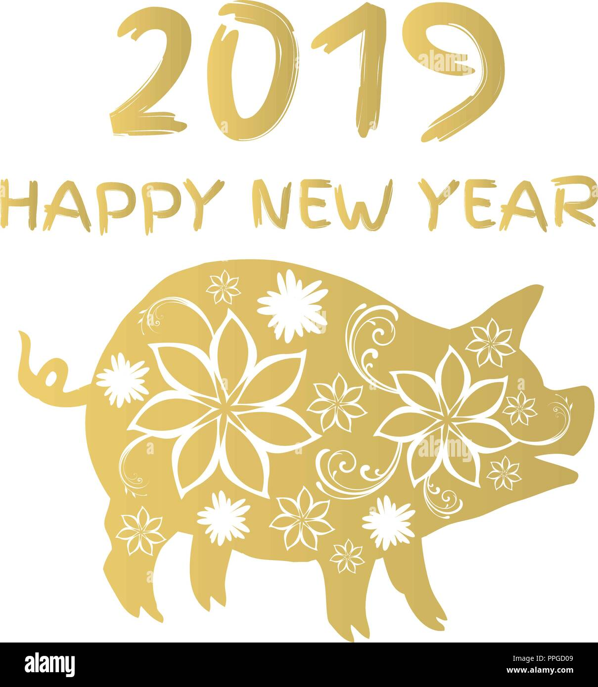vector illustration of a floral pig 2019 chinese calendar new year symbol