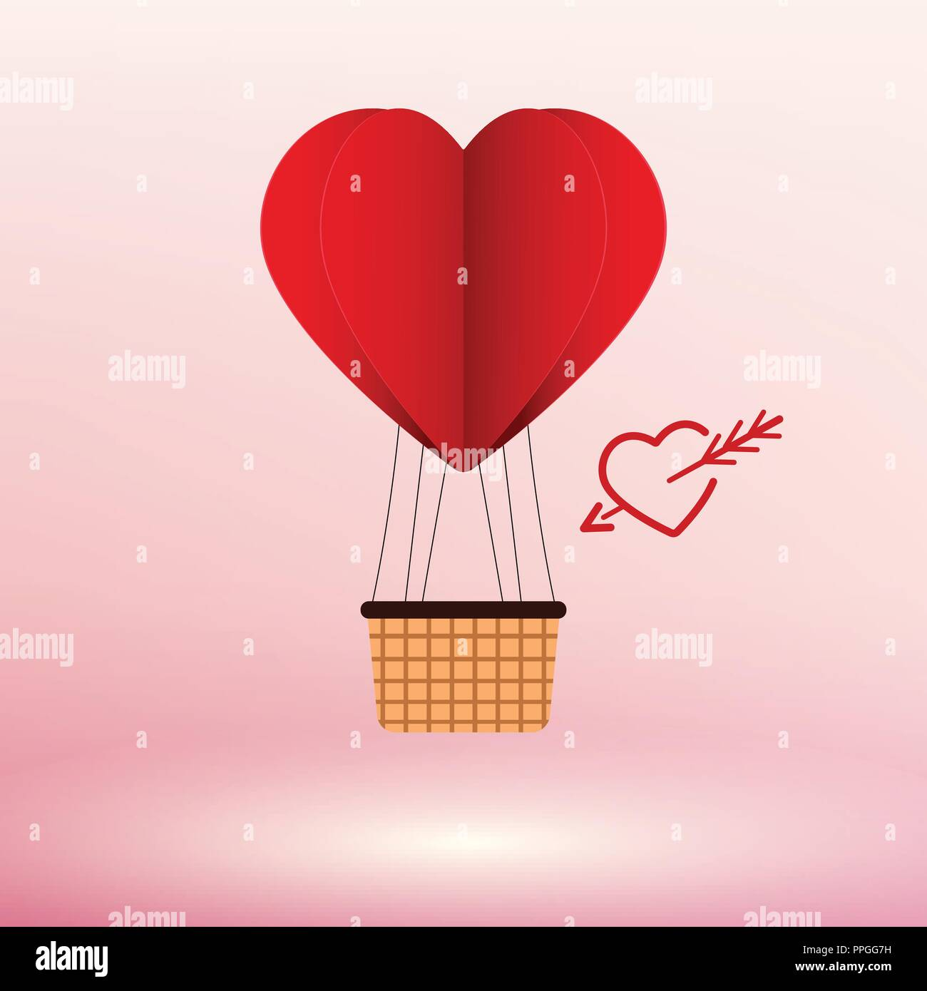 Paper Art Heart Air Balloon Vector illustration Concept - Stock Image
