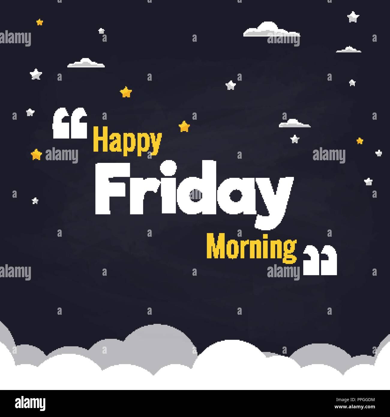happy friday morning flat illustration background vector design