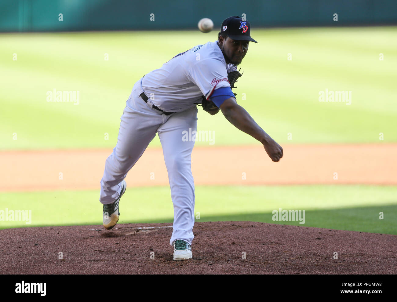 Initial pitcher of Tigres del Licey of Dominican Republic, Lázaro Blanco makes a pitch in the first inning, During the baseball game for the Caribb - Stock Image
