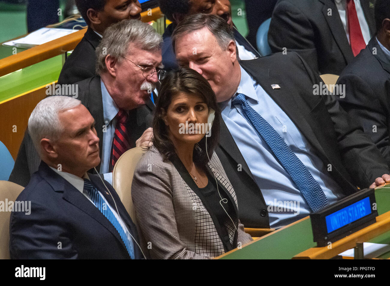 New York, USA, 25 September 2018. US Vice-President Mike Pence, UN Ambassador Nikki Haley, National Security Advisor John Bolton and Secretary of State Mike Pompeo sit at the United Nations General Assembly as they await the speech by President Donald Trump. Photo by Enrique Shore Credit: Enrique Shore/Alamy Live News - Stock Image