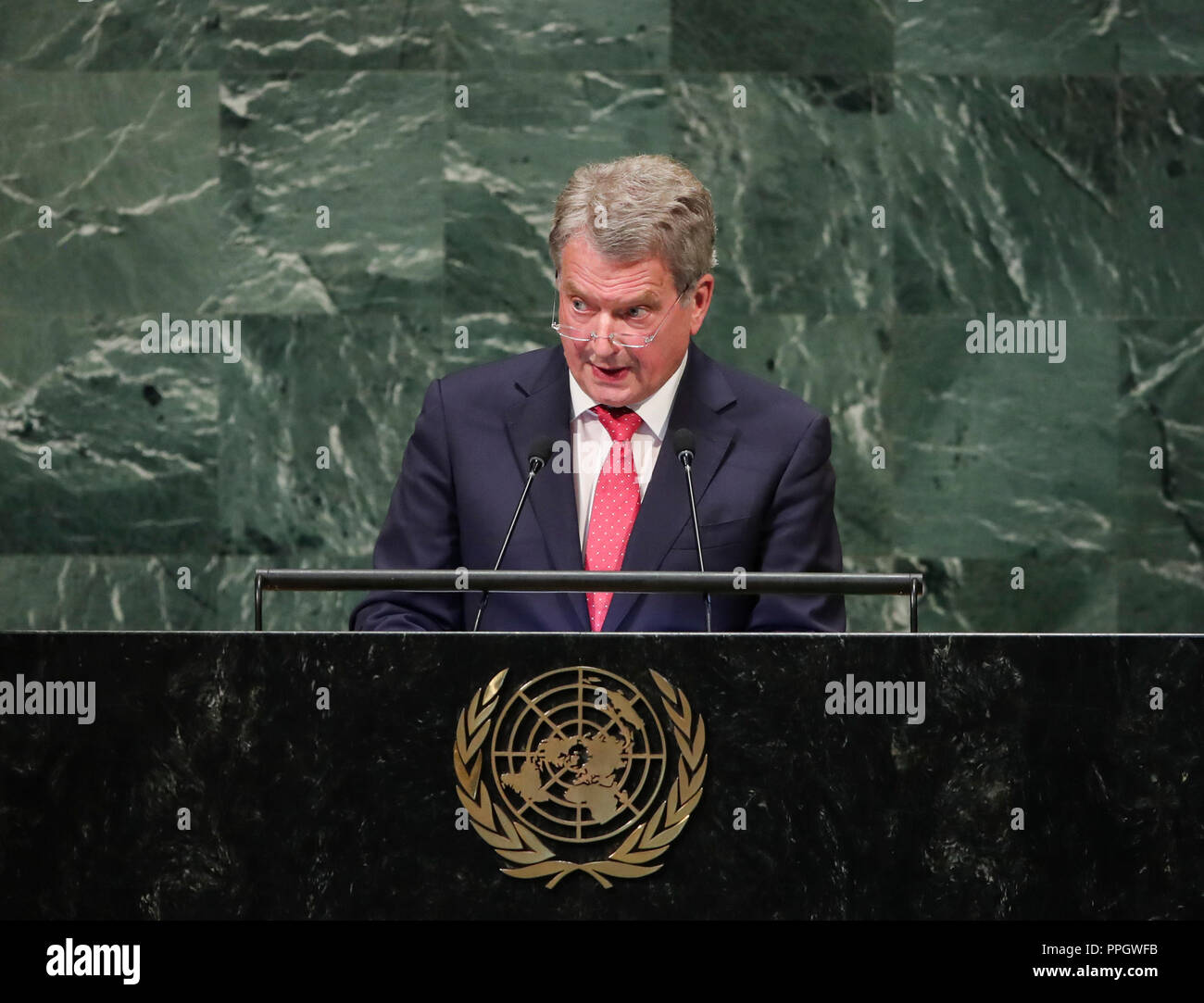 United Nations, New York, USA. 25th Sep, 2018. Finnish President Sauli Niinisto addresses the General Debate of the 73rd session of the United Nations General Assembly at the UN headquarters in New York, on Sept. 25, 2018. Credit: Wang Ying/Xinhua/Alamy Live News - Stock Image