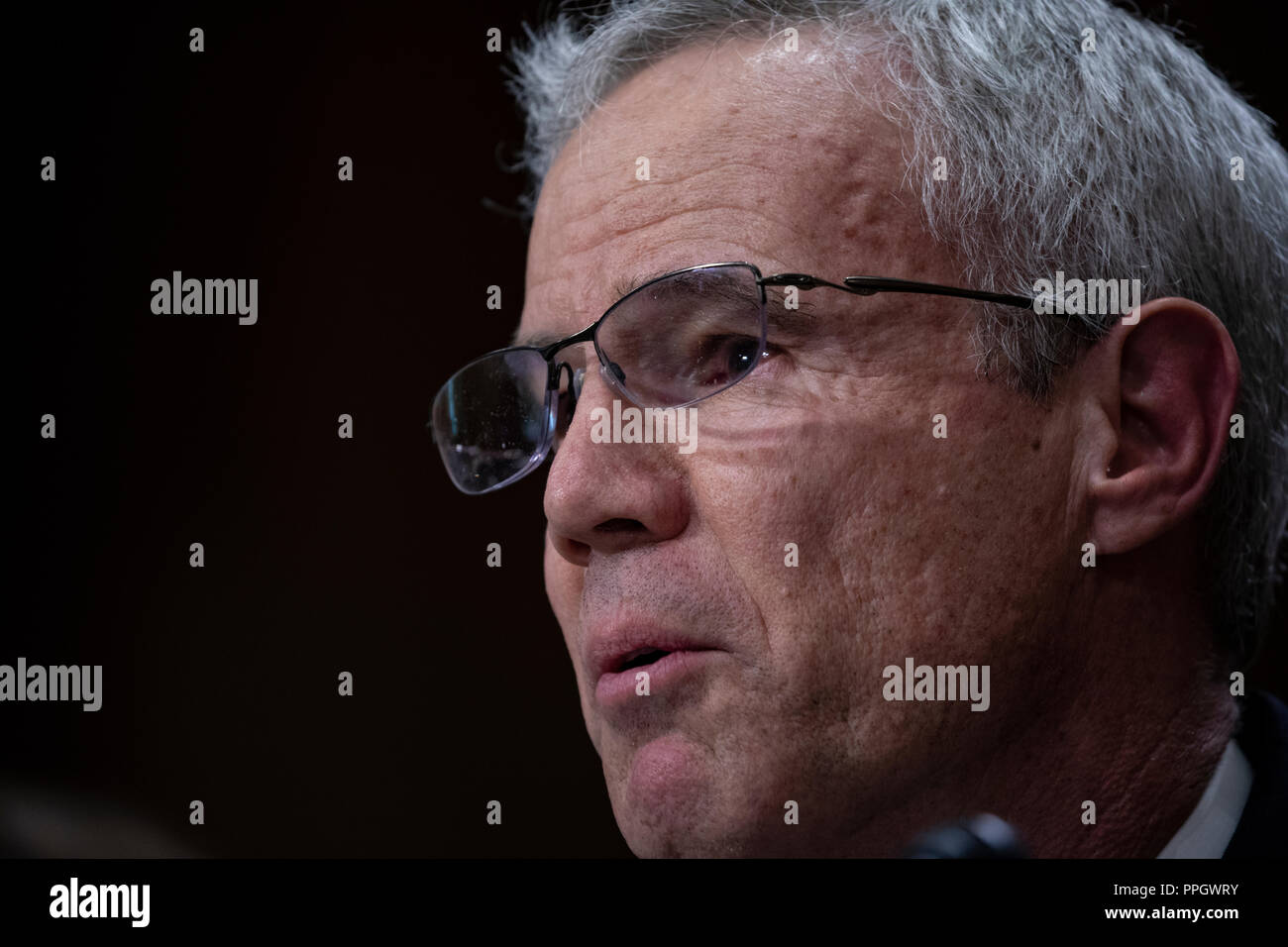 Washington, United States Of America. 25th Sep, 2018. Michael T. Harvey testifies during a hearing to confirm new administrators for the United States Agency for International Development on Capitol Hill in Washington, DC on September 25, 2018. Credit: Alex Edelman/CNP | usage worldwide Credit: dpa/Alamy Live News - Stock Image