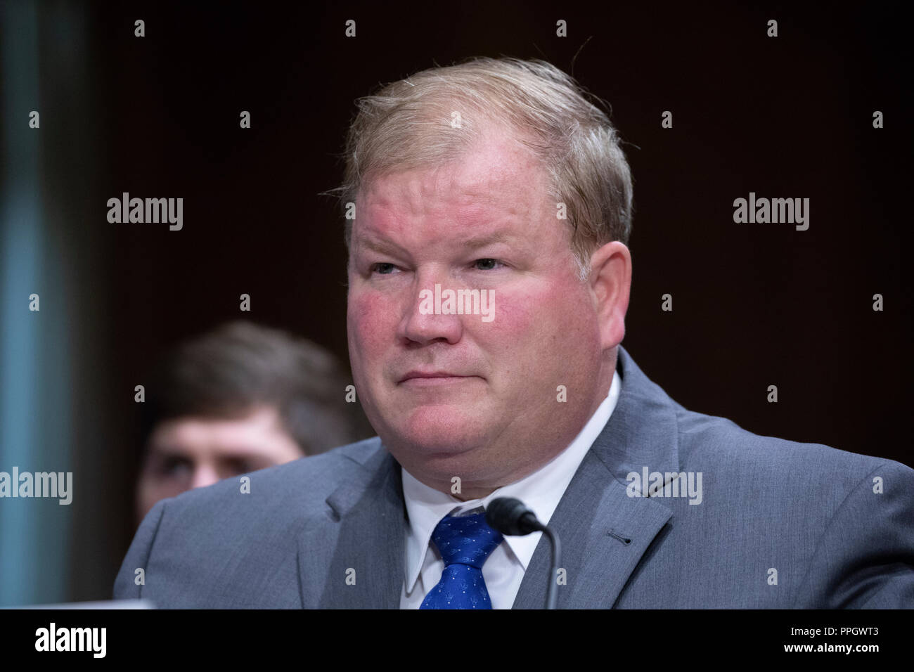 Mark Montgomery testifies during a hearing to confirm new administrators for the United States Agency for International Development on Capitol Hill in Washington, DC on September 25, 2018. Credit: Alex Edelman/CNP | usage worldwide - Stock Image