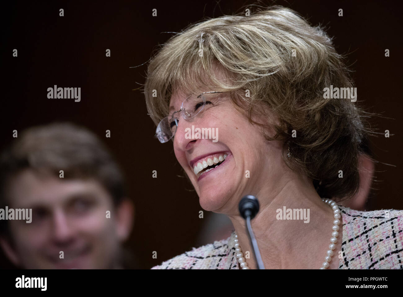 Washington, United States Of America. 25th Sep, 2018. Bonnie Glick testifies during a hearing to confirm new administrators for the United States Agency for International Development on Capitol Hill in Washington, DC on September 25, 2018. Credit: Alex Edelman/CNP | usage worldwide Credit: dpa/Alamy Live News - Stock Image