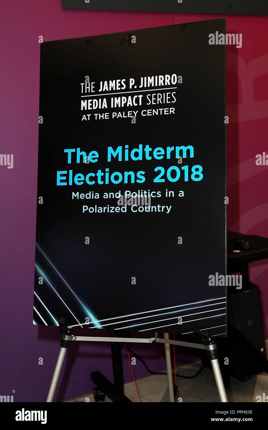New York, NY, USA. 25th Sep, 2018. at arrivals for The Midterm Elections 2018: Media and Politics in a Polarized Country, Paley Center for Media, New York, NY September 25, 2018. Credit: Steve Mack/Everett Collection/Alamy Live News - Stock Image