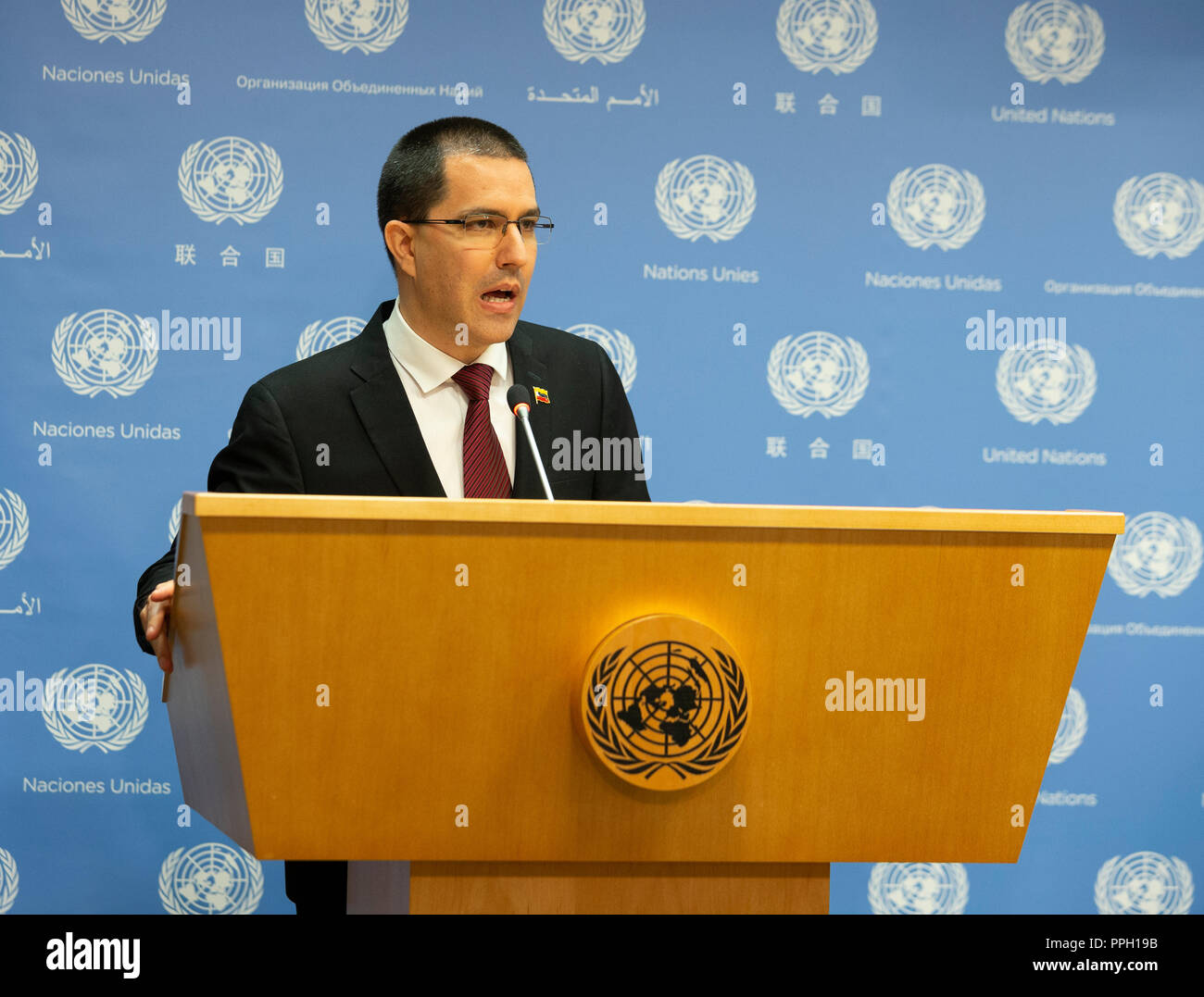 New York, NY - September 25, 2018: Press briefing by Jorge Arreaza Minister for Foreign Affairs of the Bolivarian Republic of Venezuela at United Nations Headquarters Credit: lev radin/Alamy Live News - Stock Image