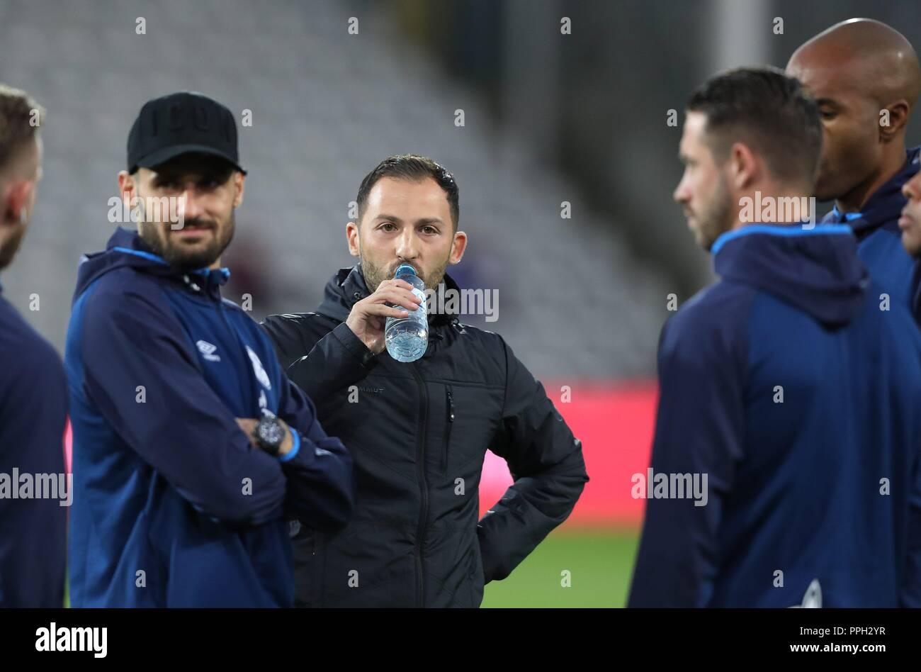 firo: 25.09.2018 Football, Football: 1. Bundesliga, Season 2018/2019 SC Freiburg - S04 FC Schalke 04 S04 coach, Domenico Tedesco,   usage worldwide - Stock Image