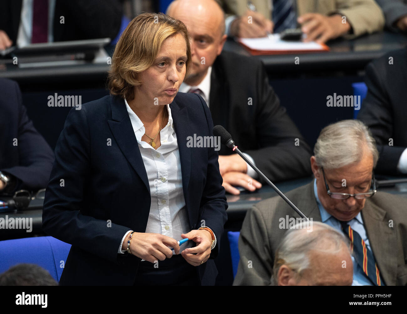 26 September 2018, Berlin: Beatrix von Storch (AfD) asks a question in the session of the Bundestag. Topics of the 51st session are a government survey with Health Minister Spahn (CDU) on the 'law for faster appointments and better care' and a question time on the results of the housing summit in Berlin. Photo: Fabian Sommer/dpa - Stock Image