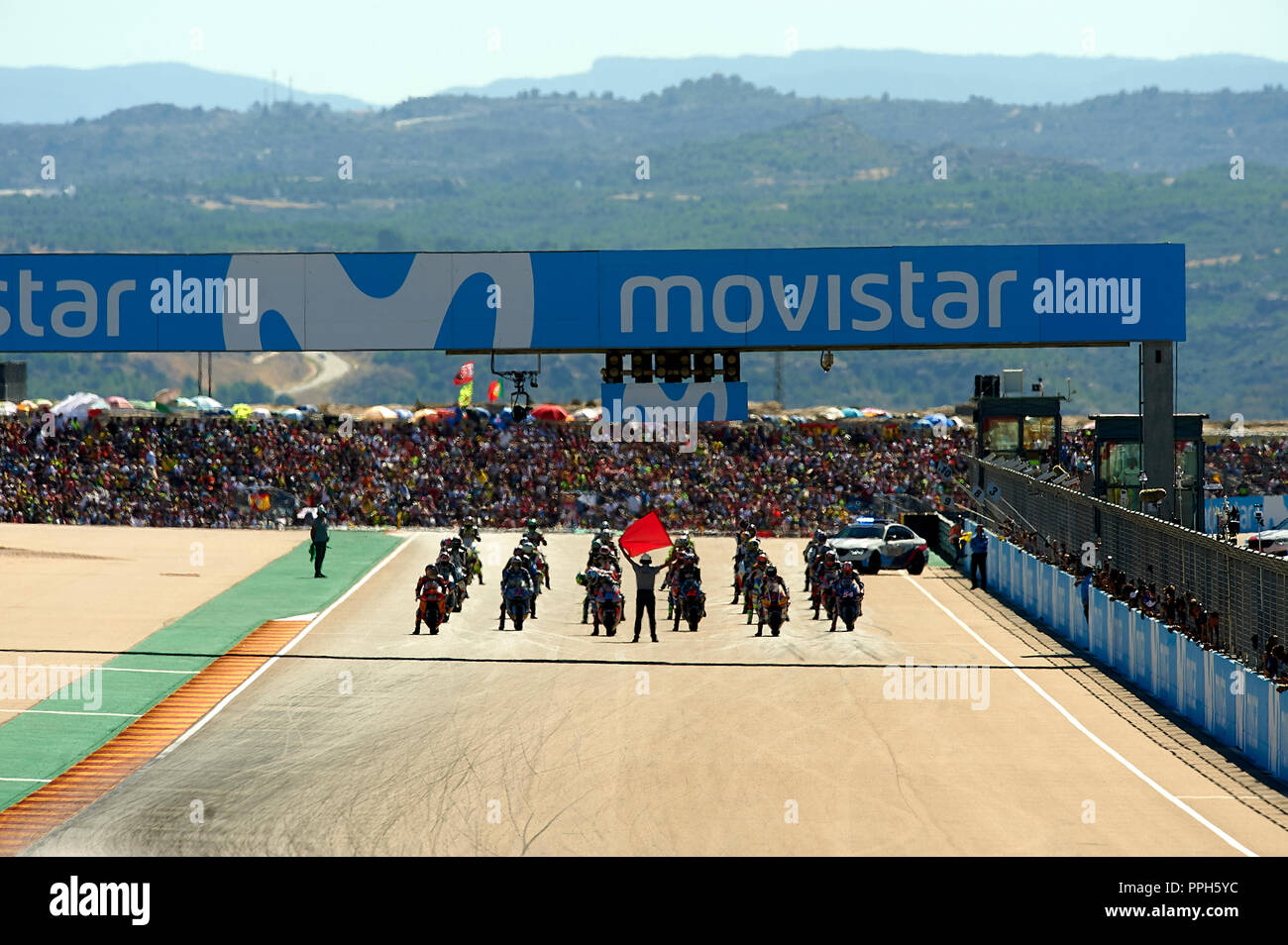 Start of the moto2 race during race day of the Gran Premio Movistar de Aragon of world championship of MotoGP at Motorland Aragon Circuit on September 23, 2018 in Alcaniz, Spain. - Stock Image