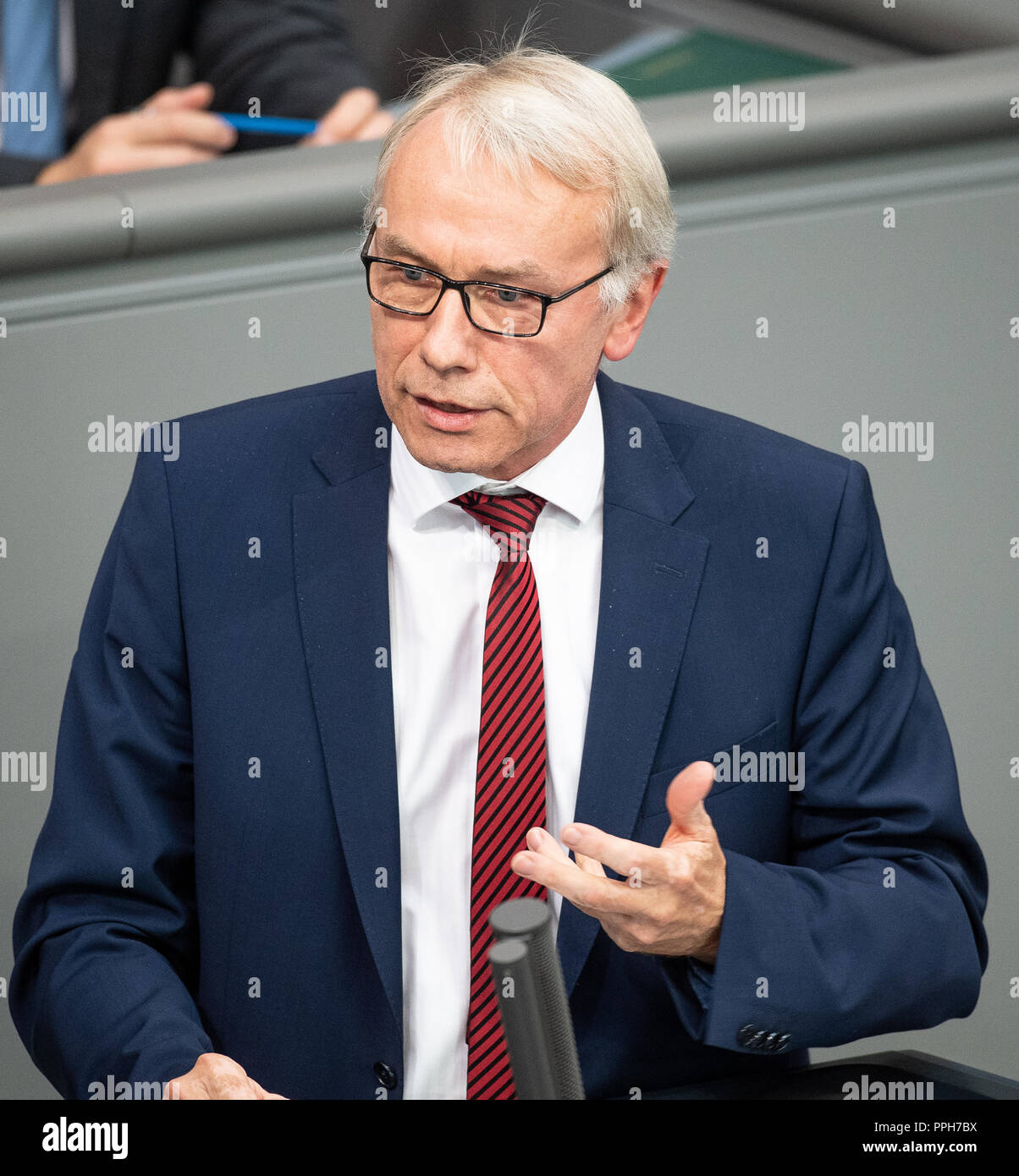 26 September 2018, Berlin: Bernhard Daldrup (SPD), member of the Bundestag, speaks during a session of the Bundestag on the results of the housing summit in Berlin. Photo: Fabian Sommer/dpa - Stock Image