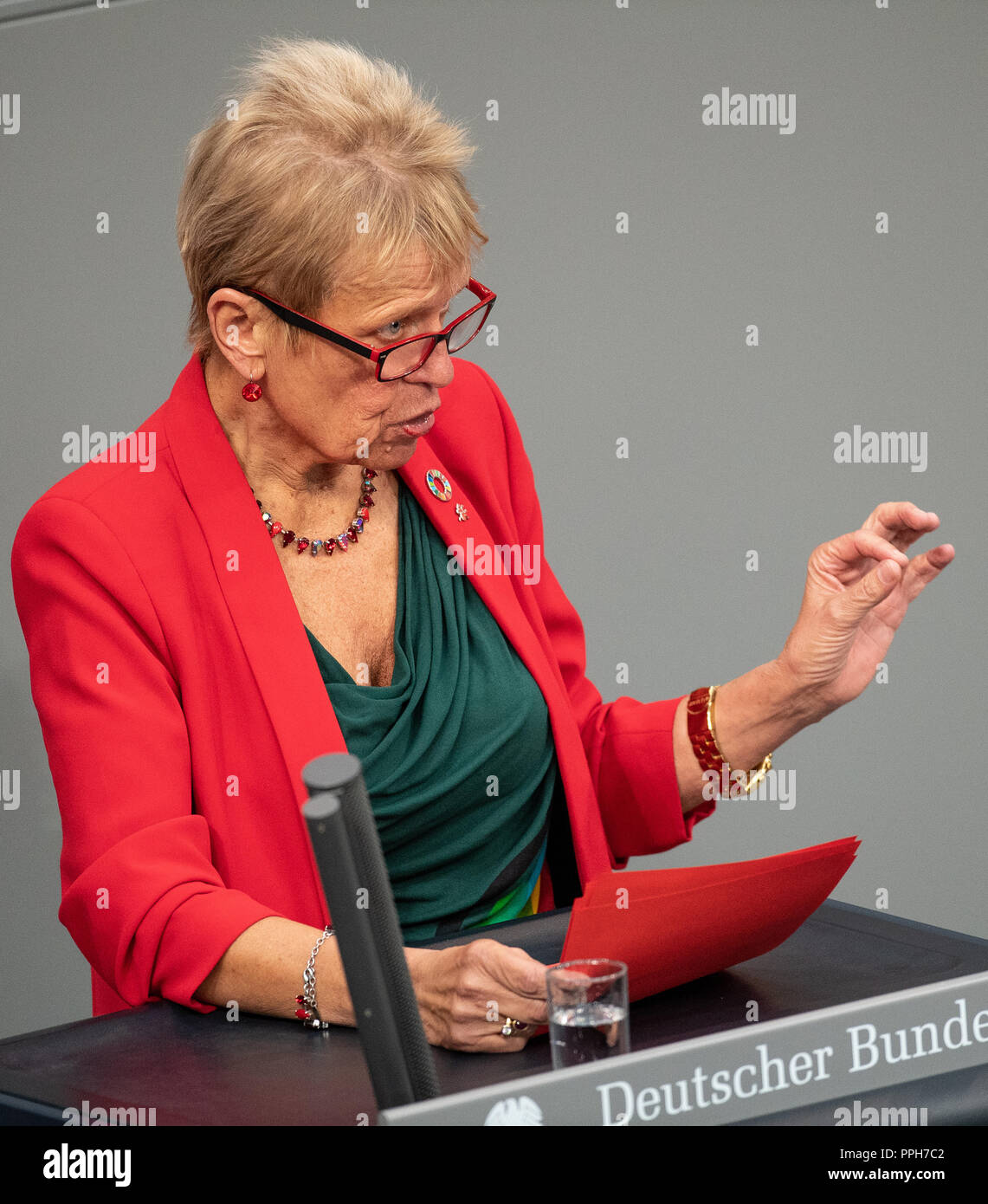 26 September 2018, Berlin: Ulli Nissen (SPD), member of the Bundestag, speaks during a session of the Bundestag on the results of the housing summit in Berlin. Photo: Fabian Sommer/dpa - Stock Image
