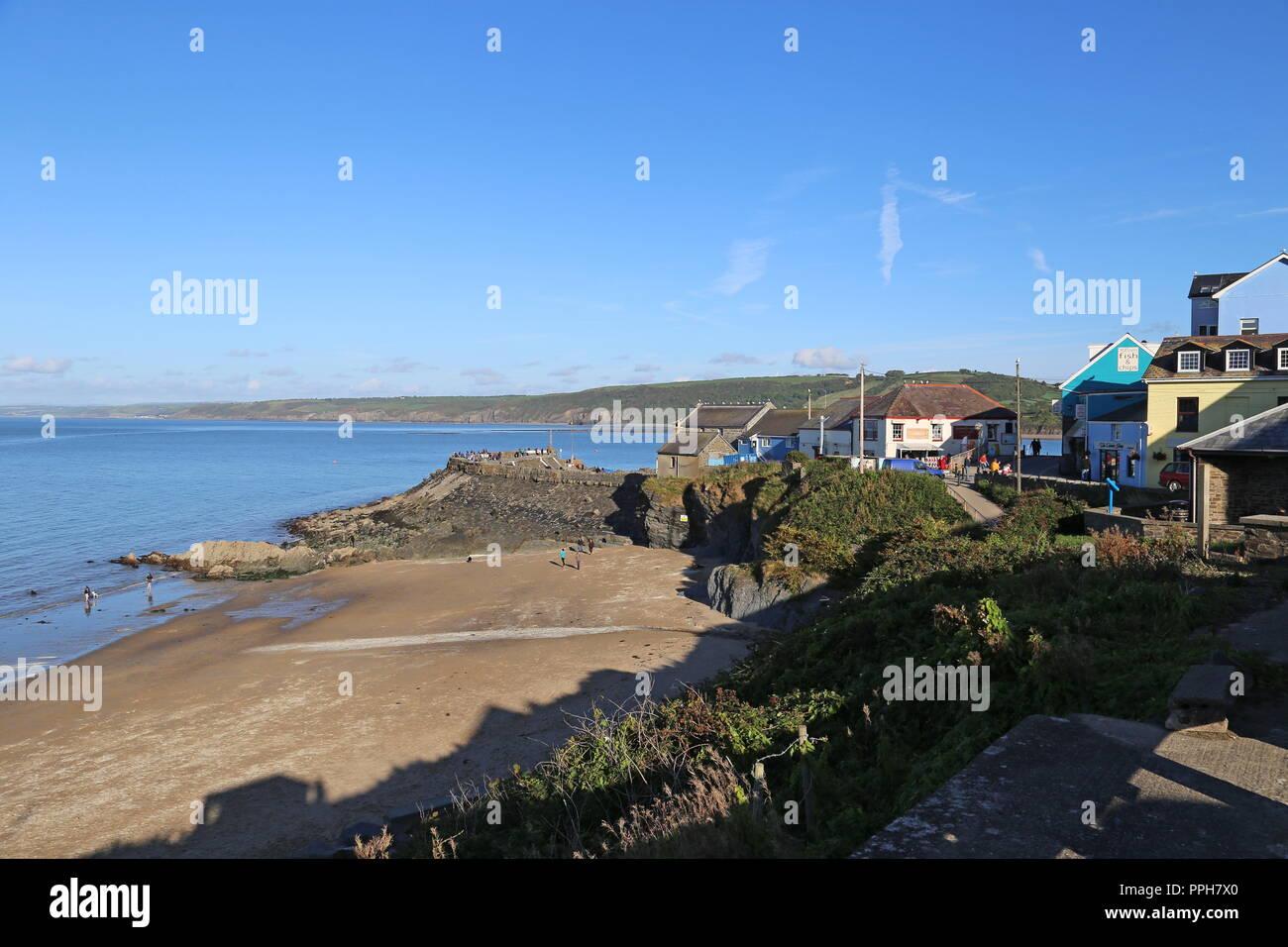 Dolau Beach, New Quay, Cardigan Bay, Ceredigion, Wales, Great Britain, United Kingdom, UK, Europe - Stock Image