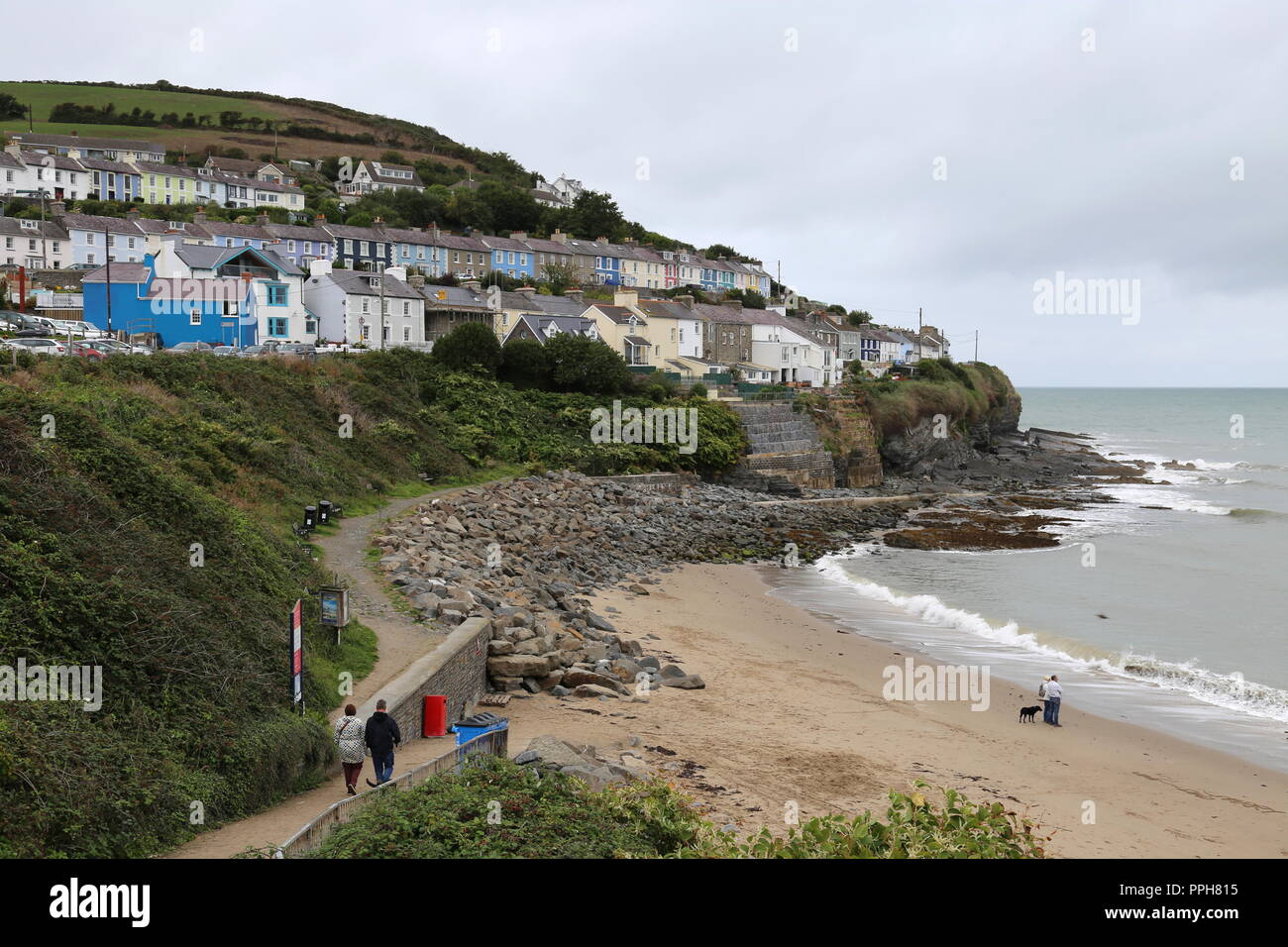 Dolau Beach, New Quay, Cardigan Bay, Ceredigion, Wales, Great Britain, United Kingdom, UK, Europe - Stock Image