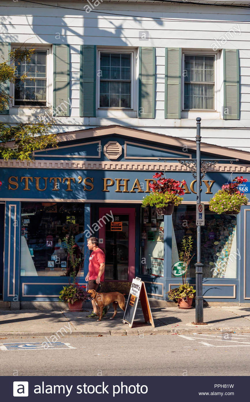 Pharmacy chemist on main Street in the village small town of Orono Ontario Canada. - Stock Image