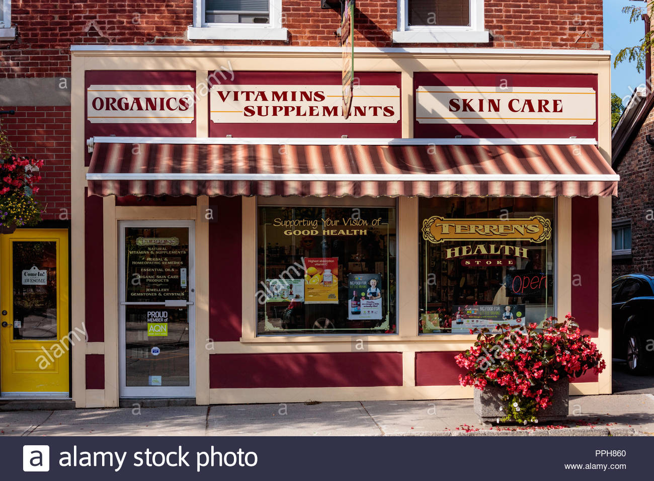 Health store on main Street in the village small town of Orono Ontario Canada. Stock Photo