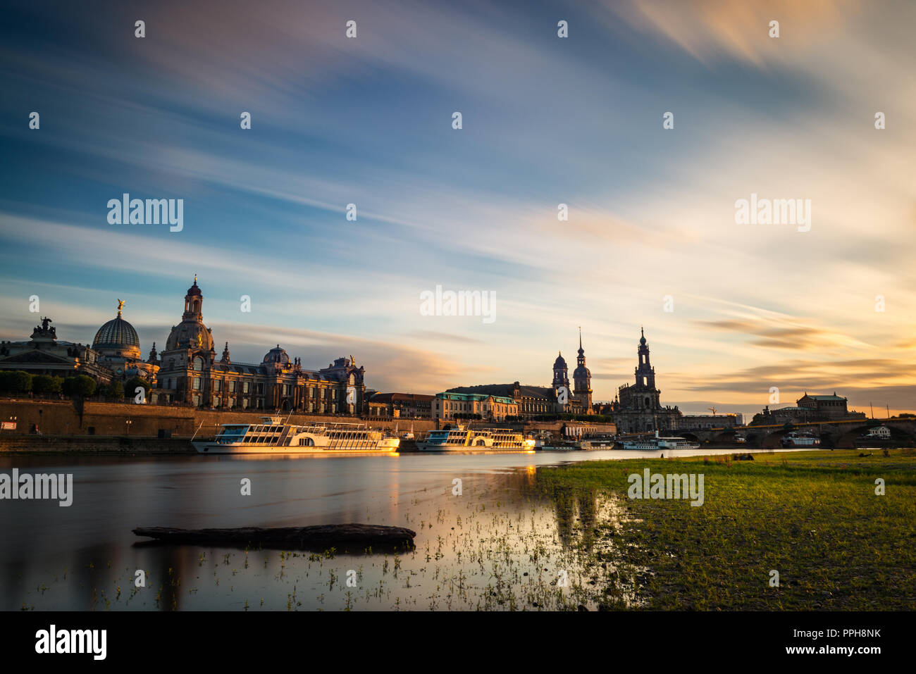 View of the oldtown of Dresden from the Neustädter Elbufer, with some of its main buildings to be recognised, including the Frauenkirche. Stock Photo