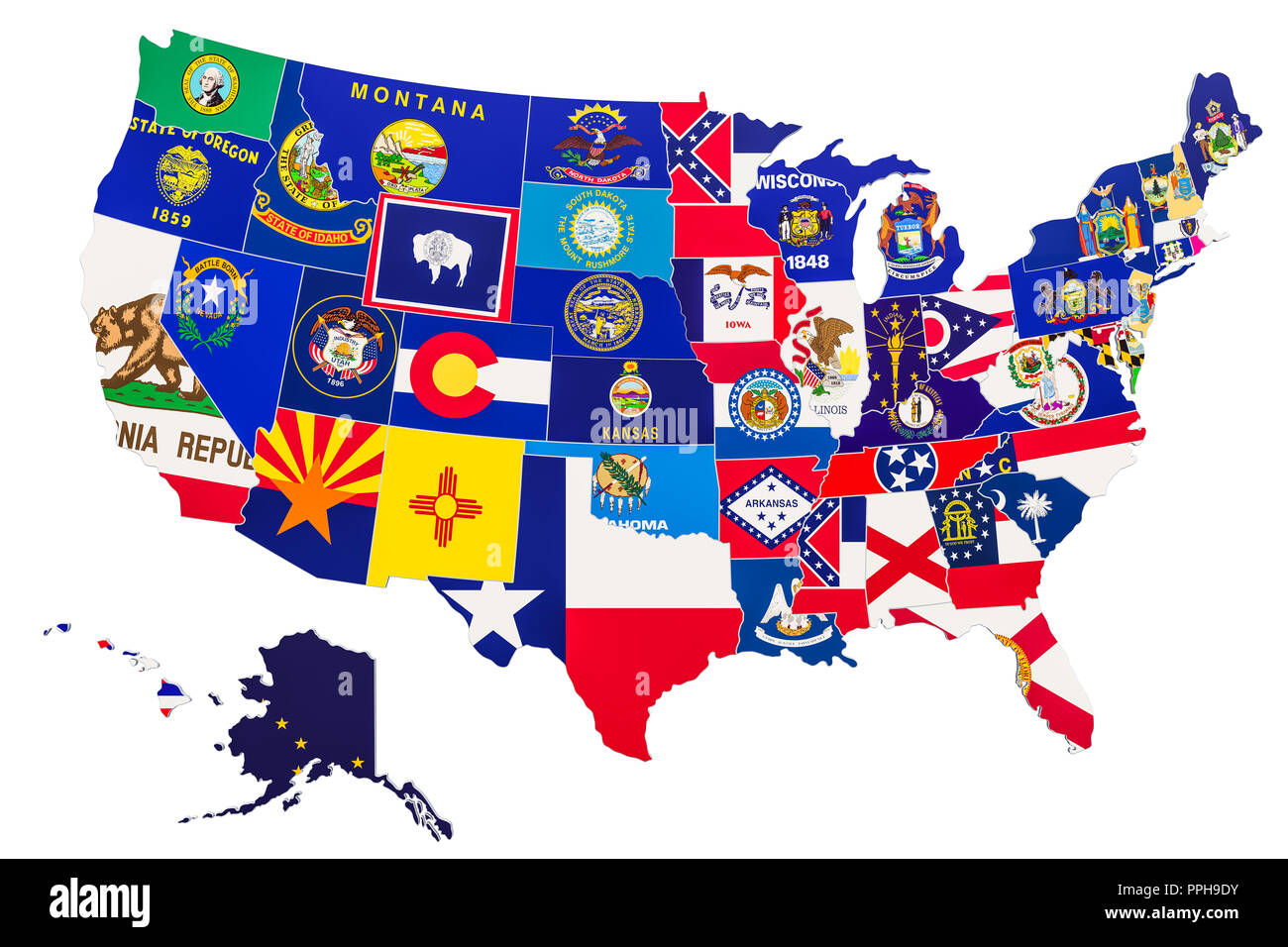 United States of America map with state flags, 3D rendering ...