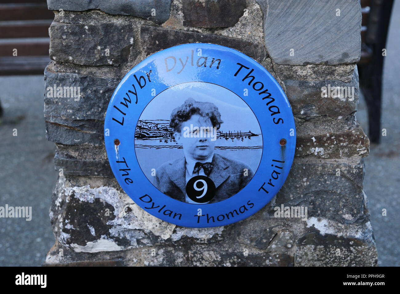 Plaque marking point of interest on the Dylan Thomas Trail, New Quay, Cardigan Bay, Ceredigion, Wales, Great Britain, United Kingdom, UK, Europe - Stock Image