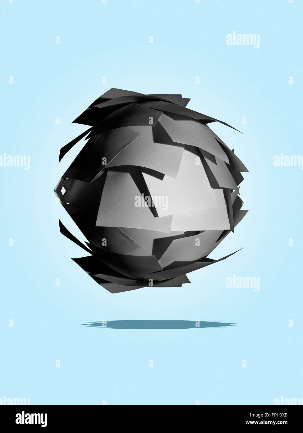 Ball made of gray Post It notes concept - Stock Image