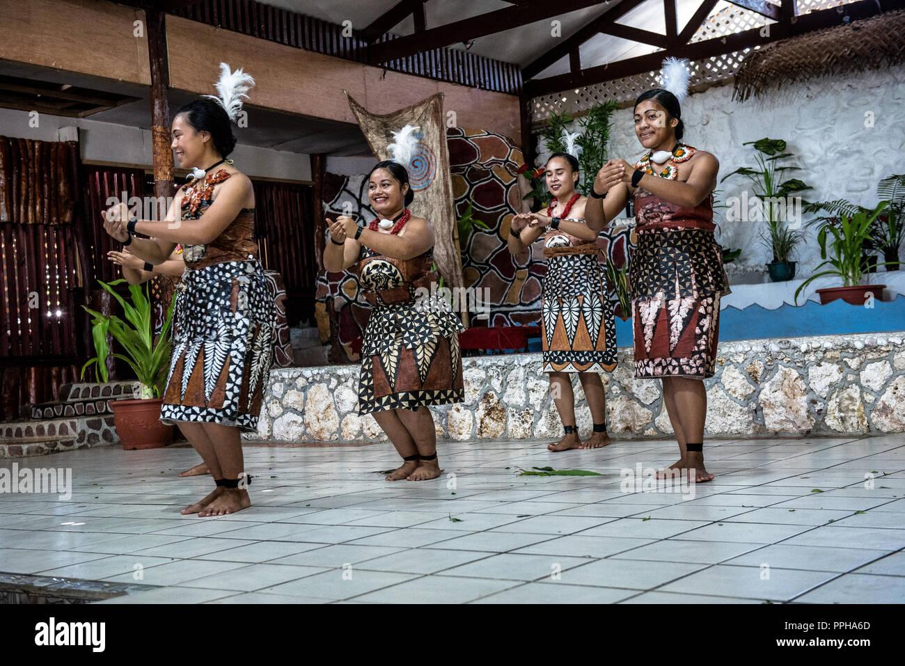 Nuku'Alofa, Tonga -- March 10, 2018. Female dancers in native garb perform a traditional Tonganese dance. - Stock Image