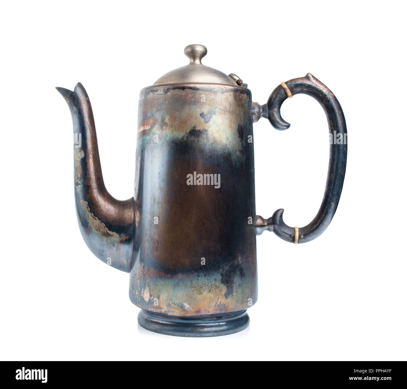 Antique teapot isolated on a white background - Stock Image