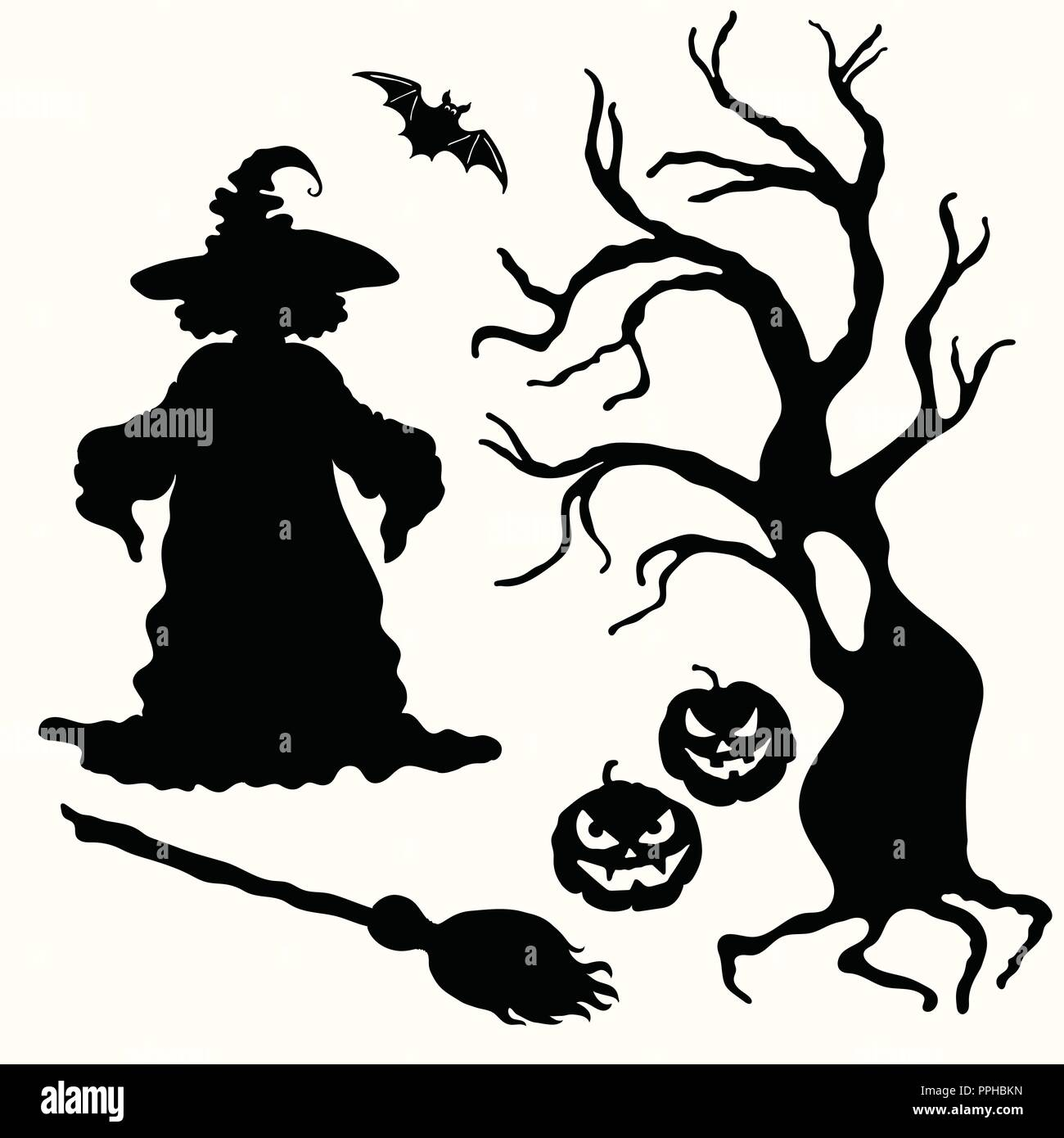 vector witch pumpkin lantern tree broom and bat stencil isolated